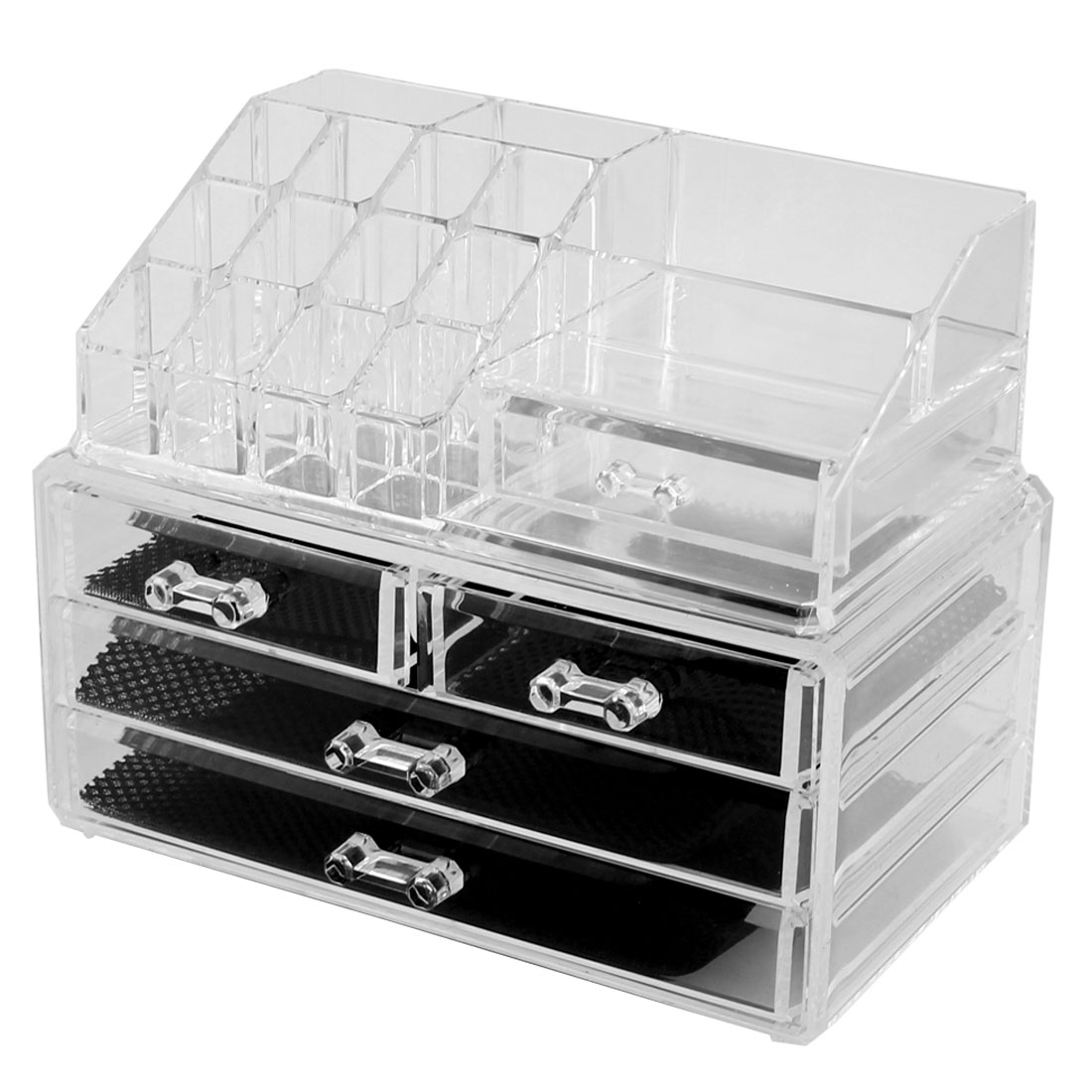 Home Acrylic Multilayers Jewelry Makeup Storage Organizer Display Box Set 2 in 1