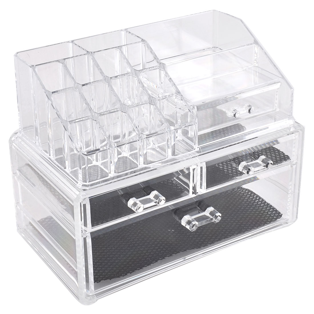 Acrylic 4-drawer Cosmetics Makeup Storage Case Jewelry Organizer Display Box Set 2 in 1