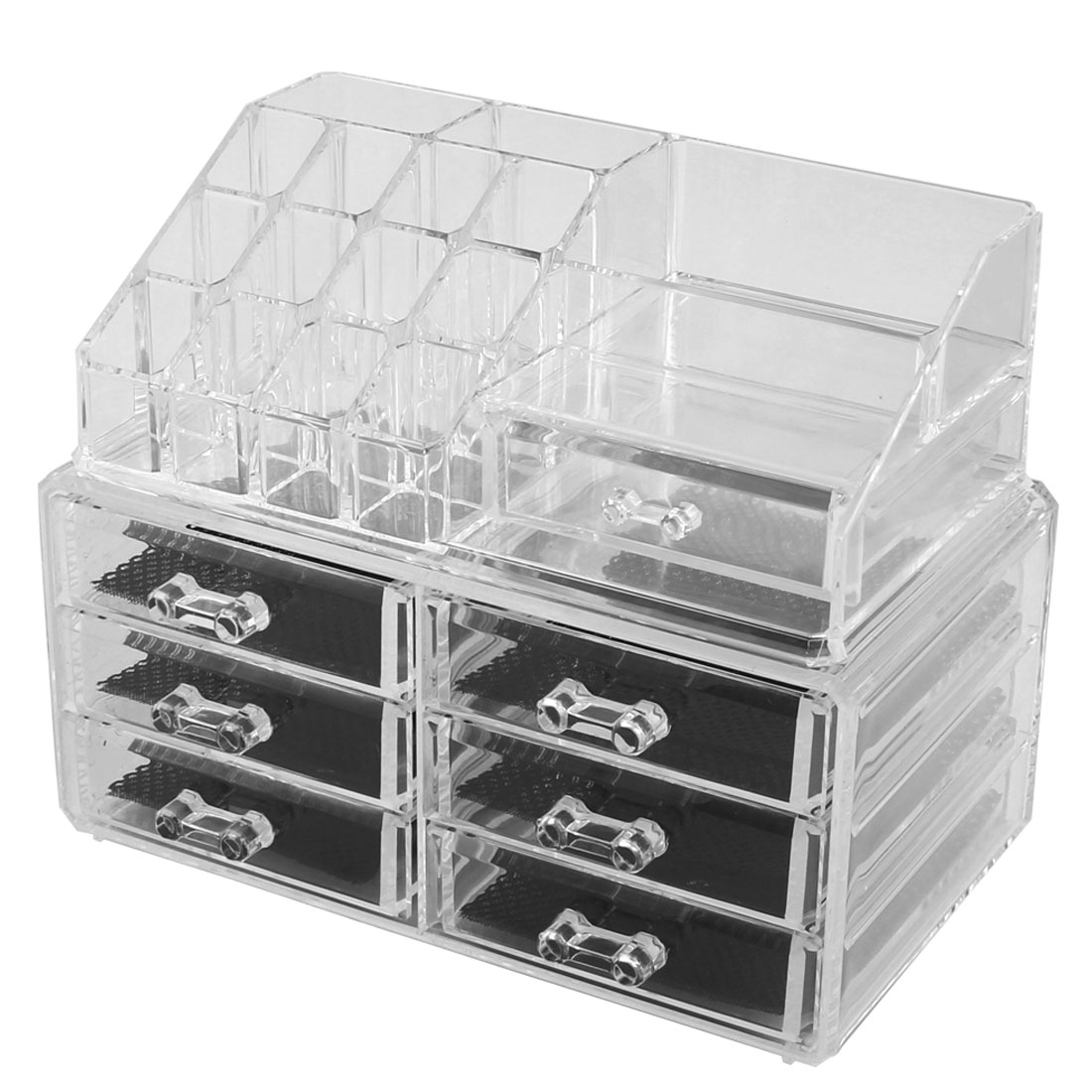 Home Acrylic Multilayers Jewelry Makeup Storage Organizer Container Box Set 2 in 1