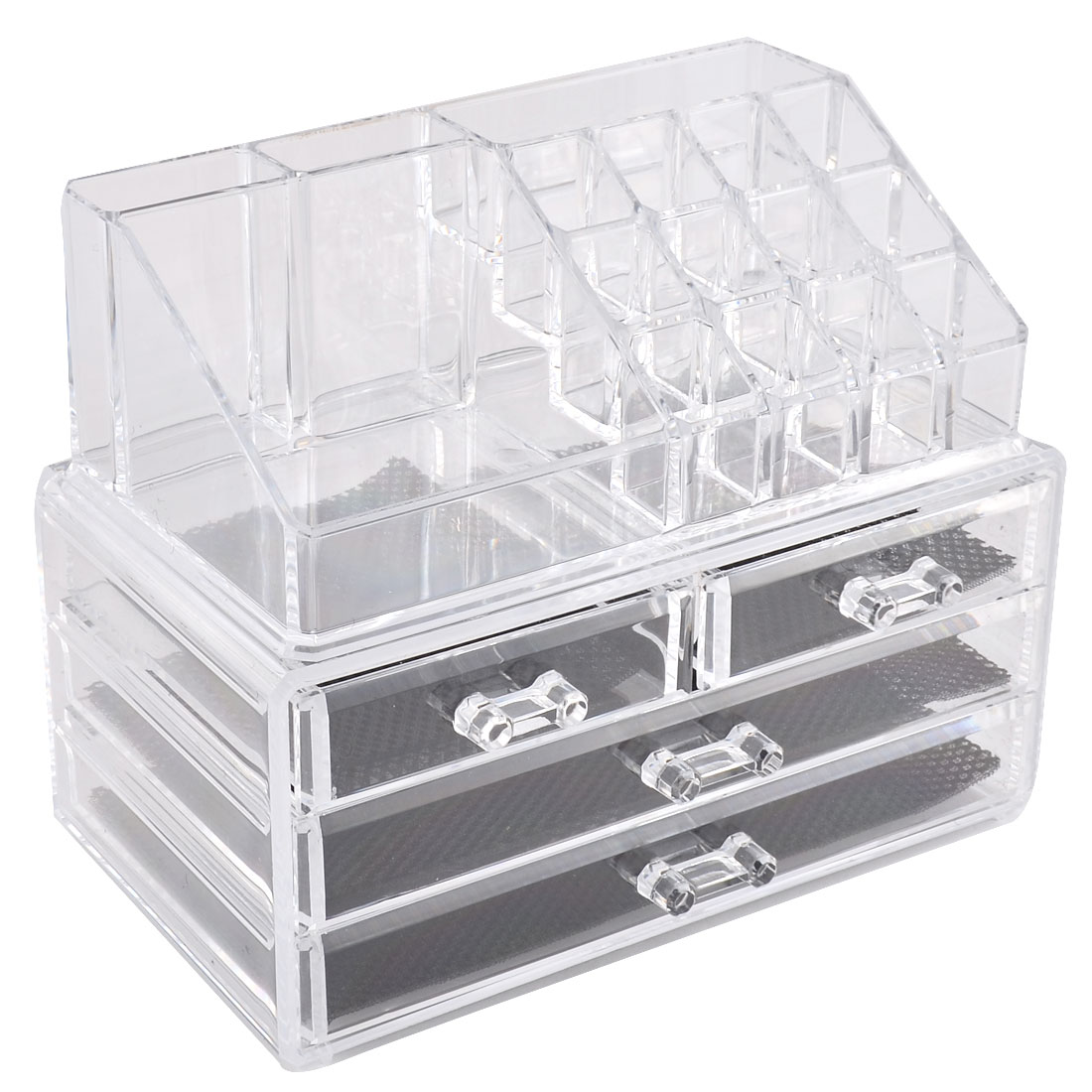 Clear Acrylic 4-drawer Makeup Tool Storage Case Display Box Jewelry Organizer Set 2 in 1