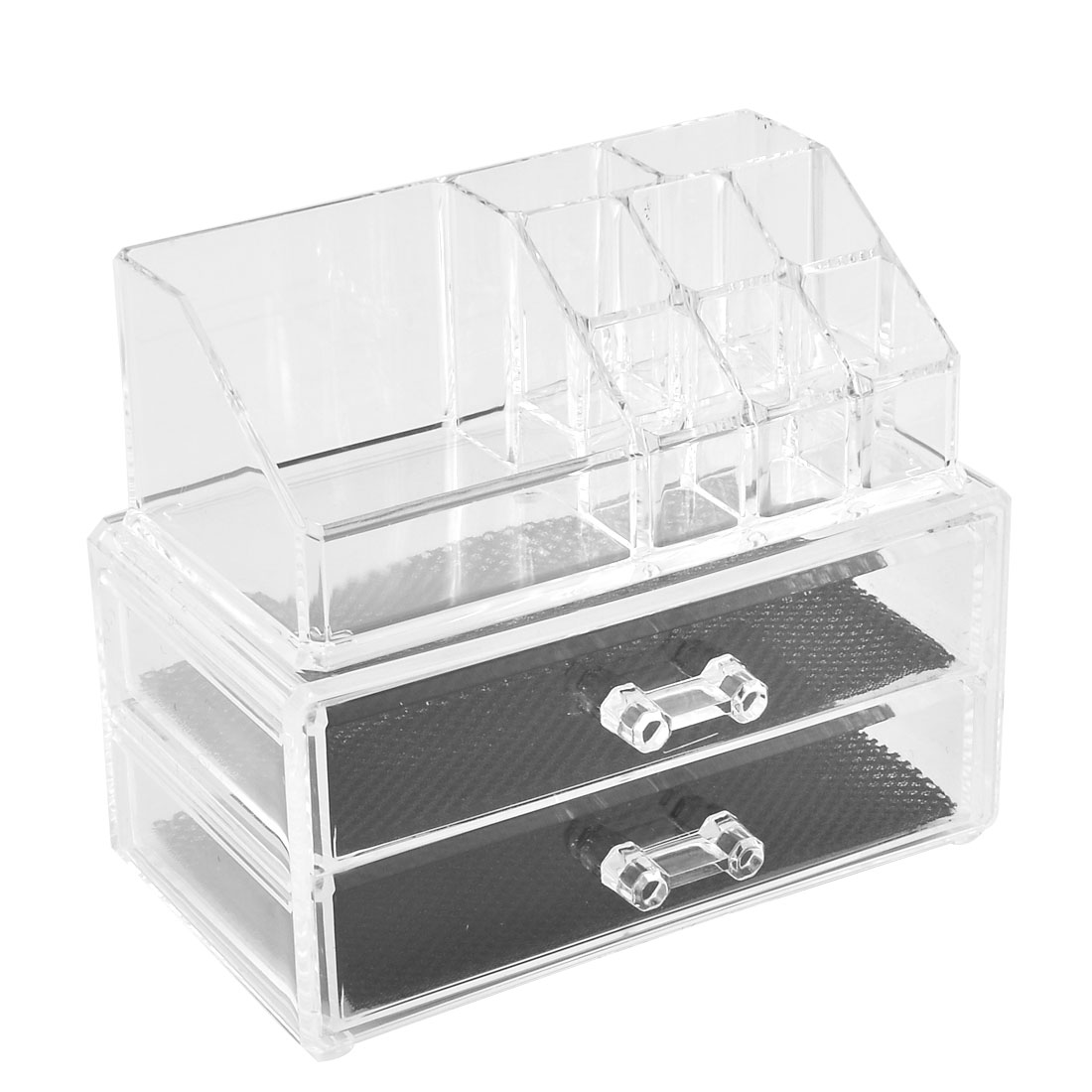 Home Acrylic Jewelry Cosmetic Box Lipstick Organizer Display Drawer Set 2 in 1