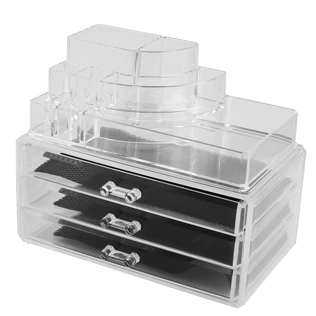 Home Acrylic Multichamber Transparent Jewelry Makeup Storage Organizer Set 2 in 1