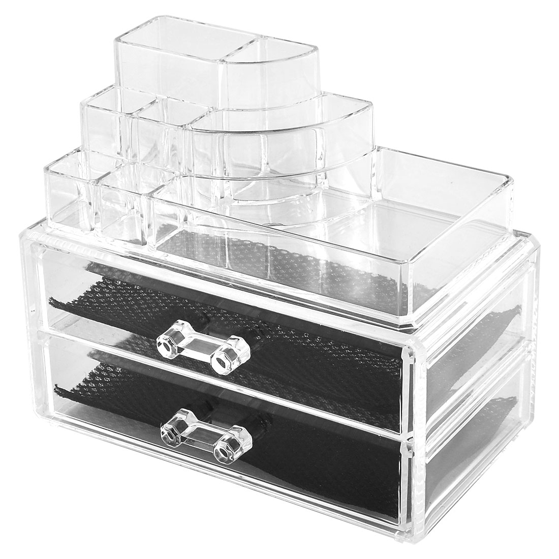 Home Acrylic Jewelry Makeup Cosmetic Case Organizer Display Box Drawers Set 2 in 1