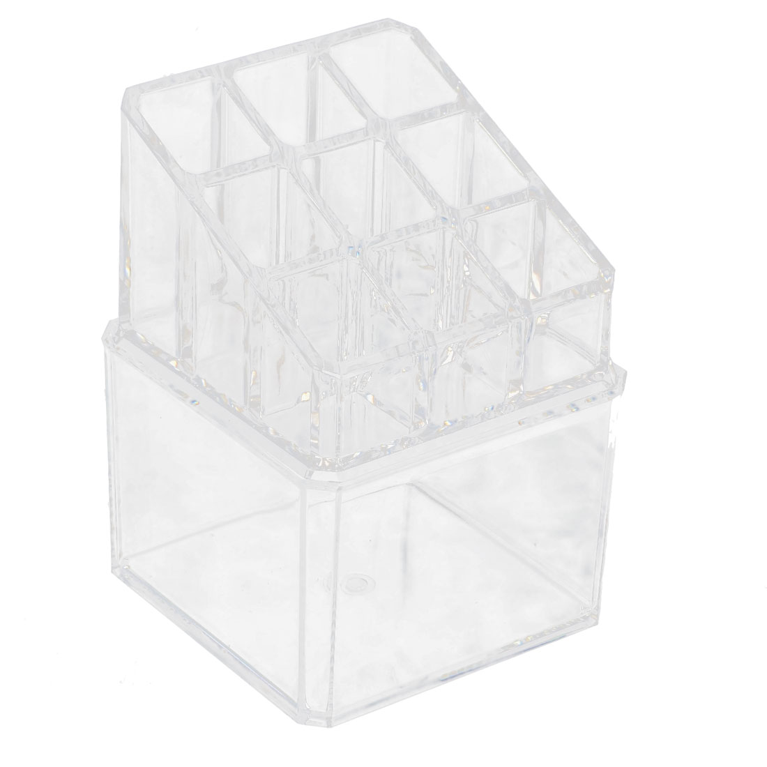 Acrylic Cosmetic Swab Q-tip Storage Box Lipstick Display Stand Makeup Organizer Set 2 in 1