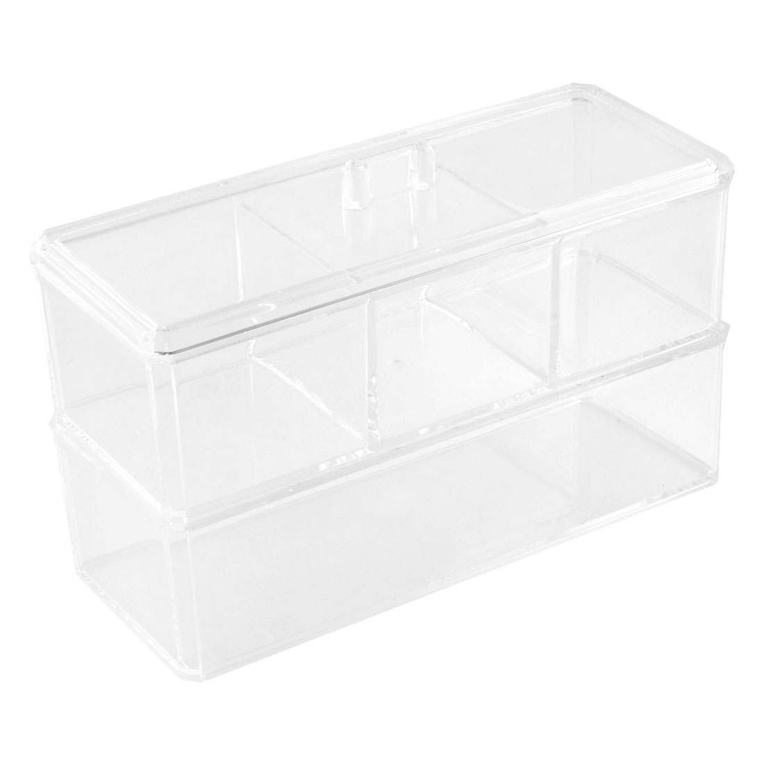 Household Acrylic Double Layers Jewelry Cosmetic Storage Box Case Organizer Clear