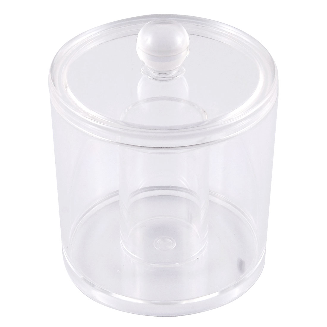 Acrylic Cylindrical Makeup Cosmetic Organizer Cotton Swab Storage Box w Lid