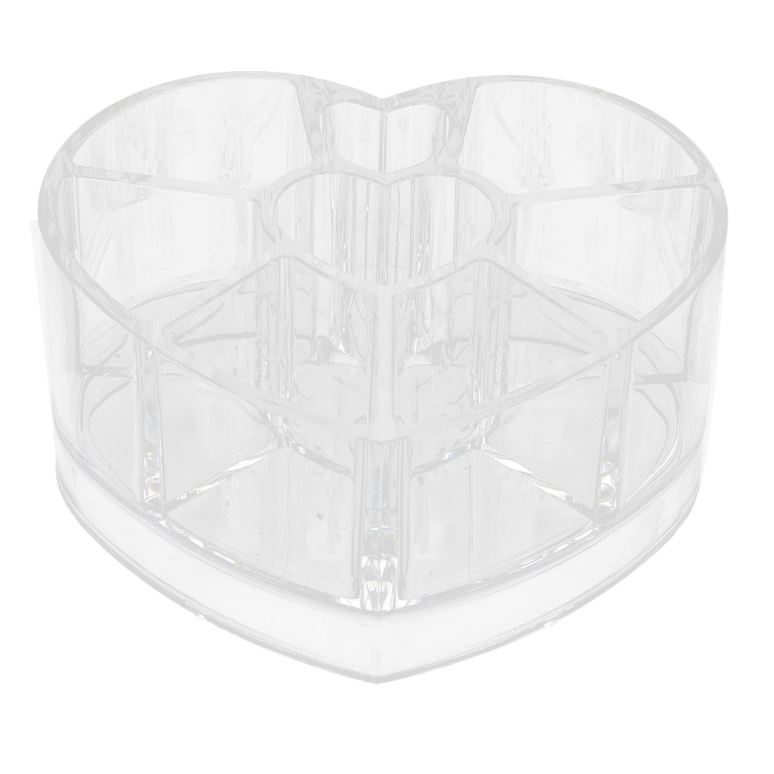 Household Acrylic Heart Shaped Jewelry Makeup Storage Box Brush Organizer Clear
