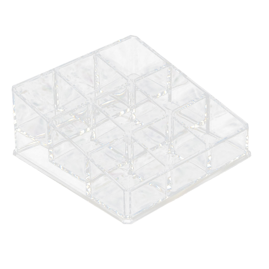 Home Acrylic Square Shaped 9 Slots Jewelry Makeup Storage Box Organizer Clear
