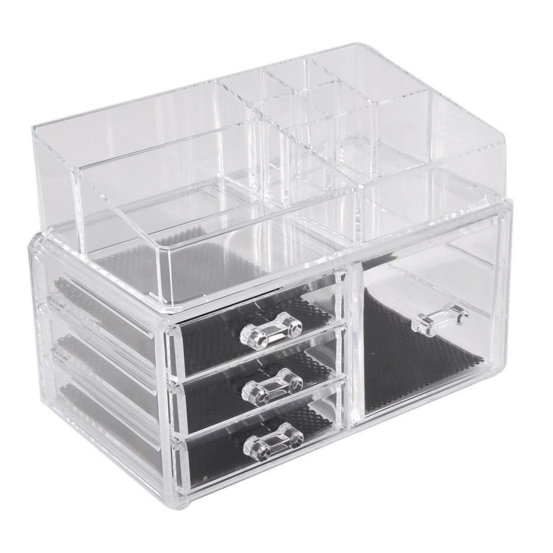 Bathroom Dresser Acrylic Makeup Tool Storage Case Display Box Jewelry Organizer Set 2 in 1