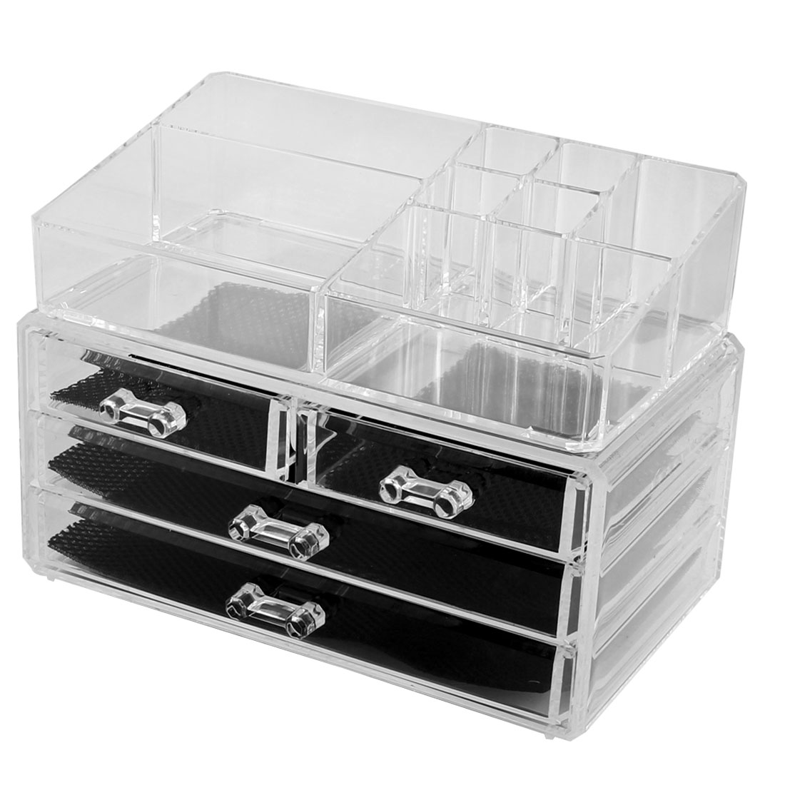 Home Bedroom Acrylic Multichamber Jewelry Makeup Storage Organizer Set 2 in 1
