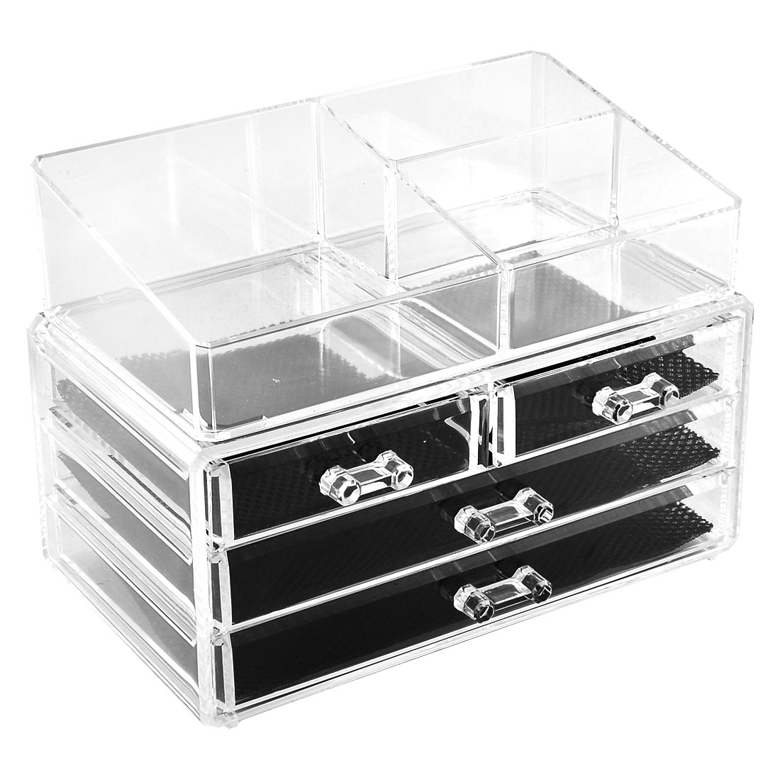 Home Acrylic Jewelry Cosmetic Box Storage Case Organizer Holder Set 2 in 1
