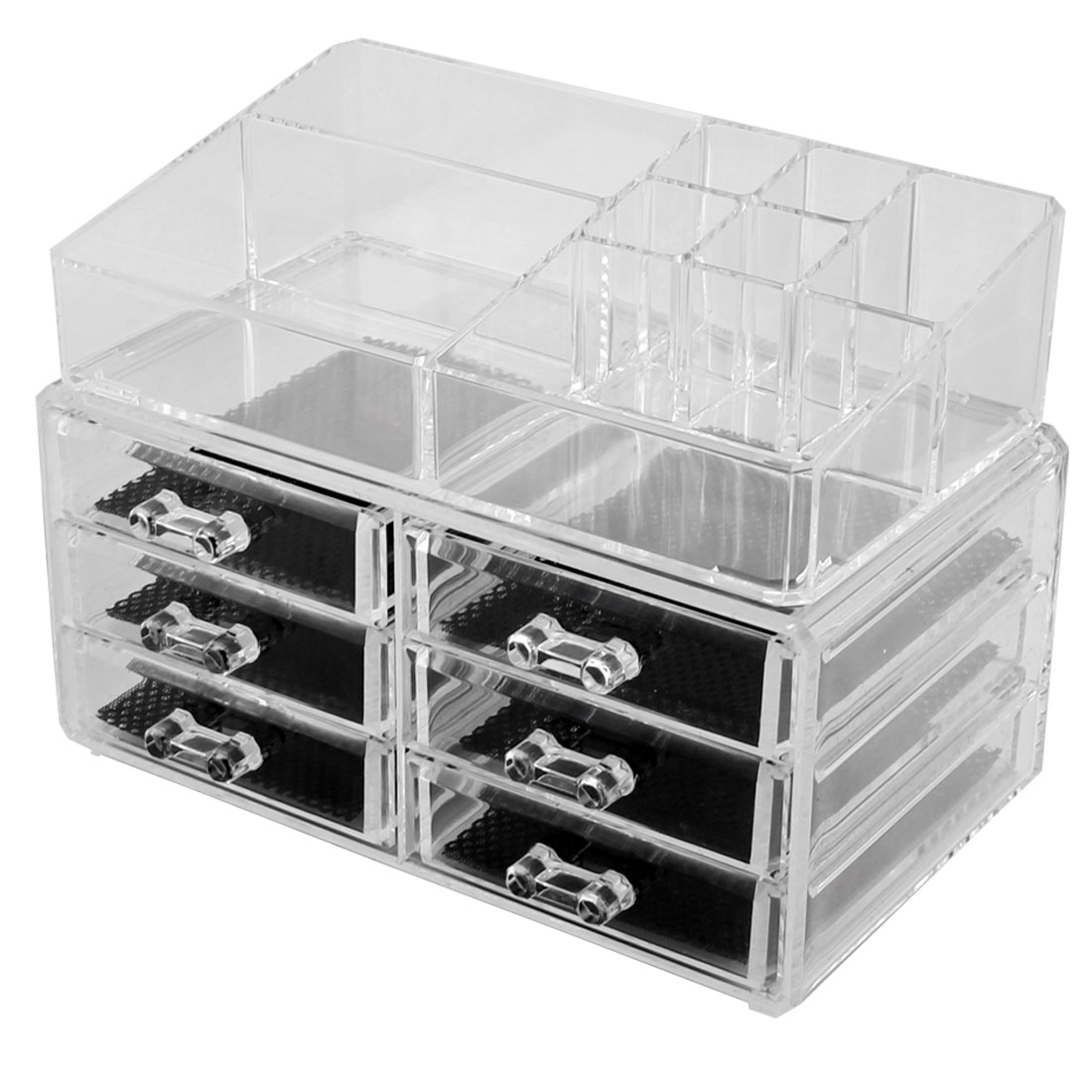 Household Acrylic Multichamber Transparent Jewelry Makeup Holder Organizer Set 2 in 1