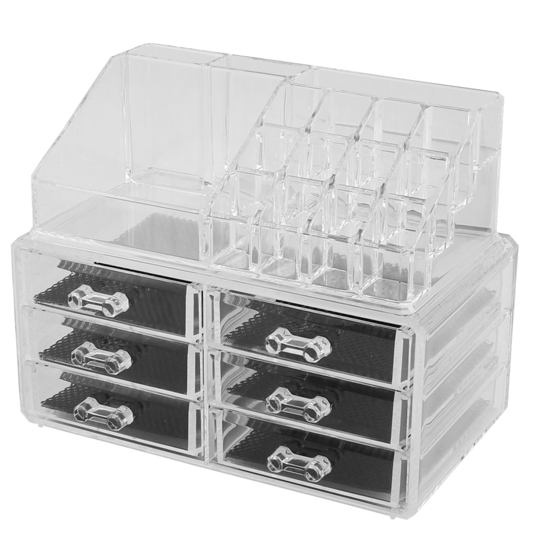 Home Acrylic Multichamber Jewelry Makeup Storage Organizer Display Box Set 2 in 1