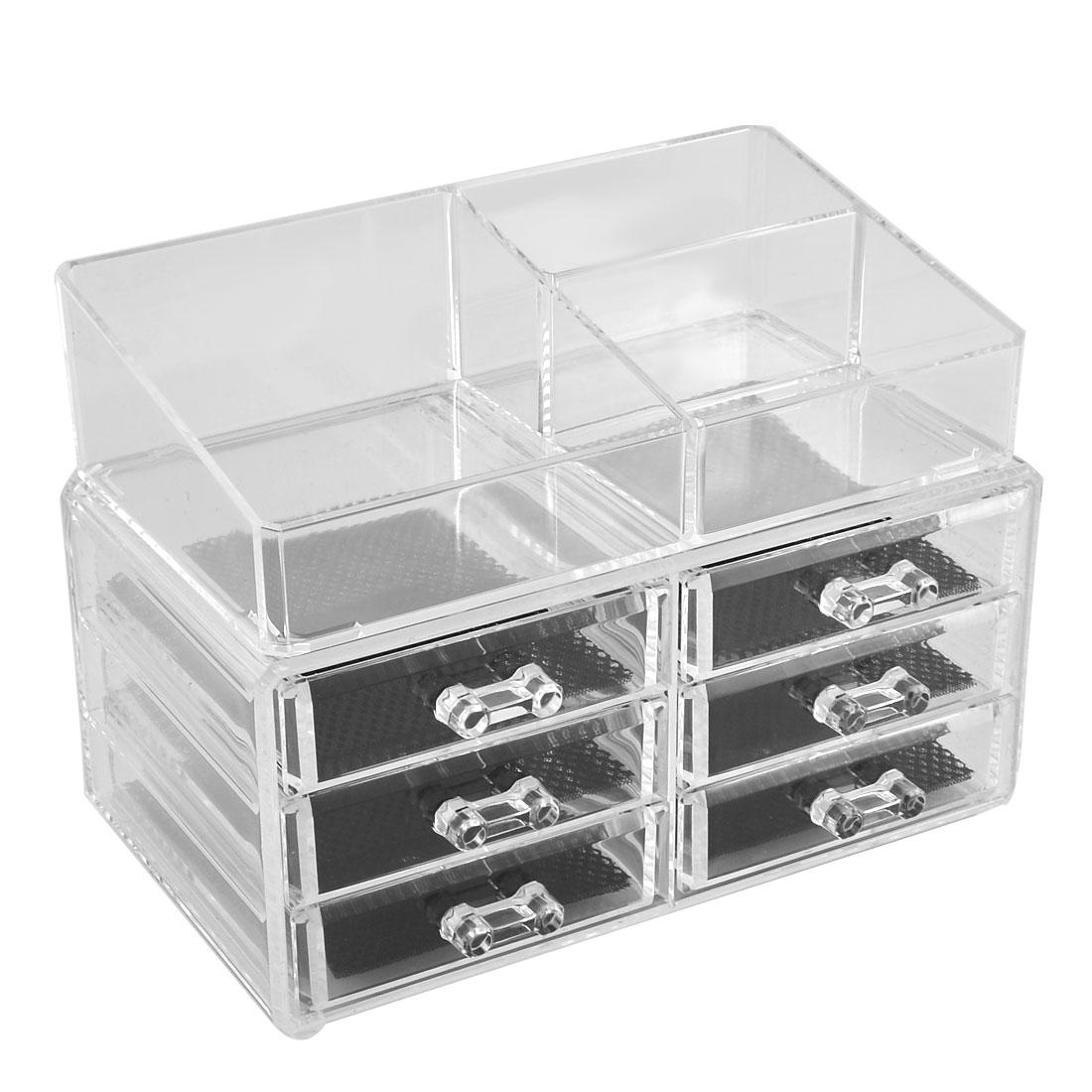 Woman Acrylic Cosmetics Makeup Organizer Case Jewelry Display Box 2 in 1