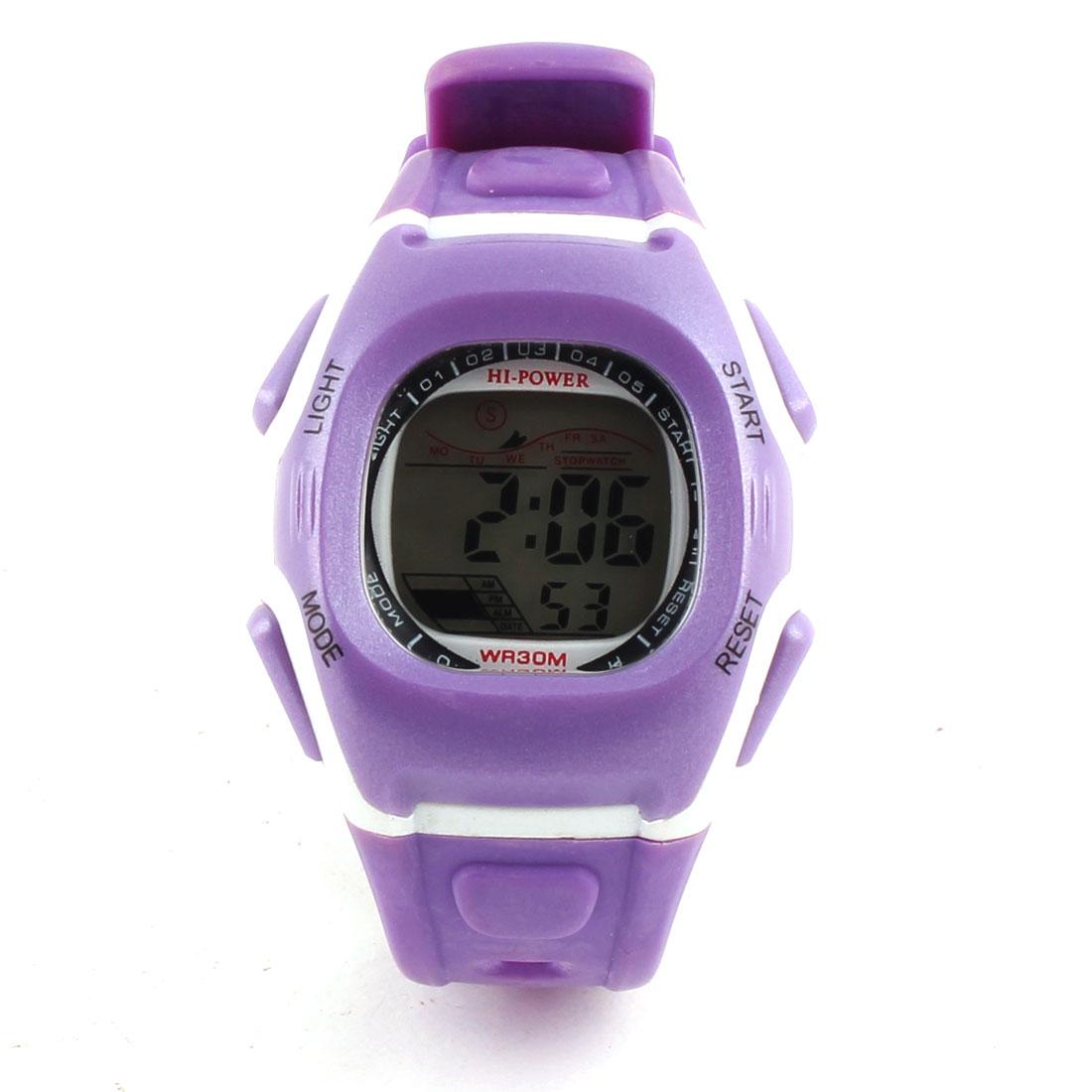 Trendy Digital Water Resist Colorful LED Backlight Watch- Purple (1*CR2025 )