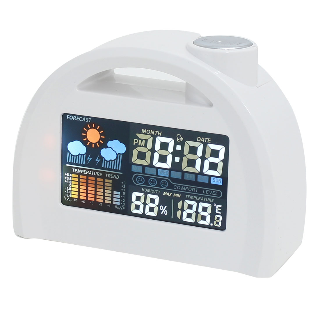 Plastic Multifunction Weather Station LCD Digital Display Alarm Clock White