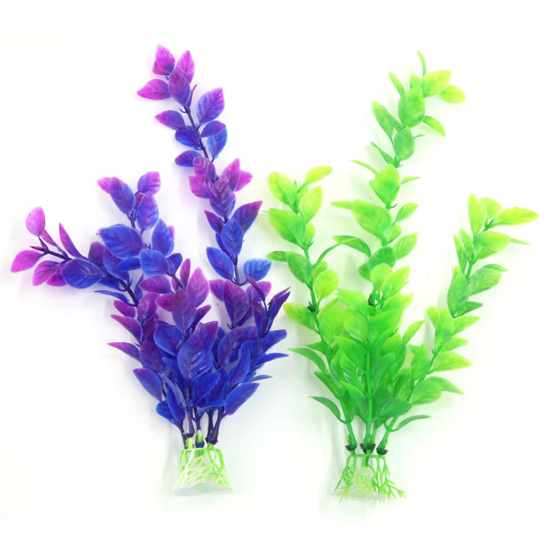 2 PCS Green Purple Aqua Landscape 24cm High Plastic Plant with Suction Cup