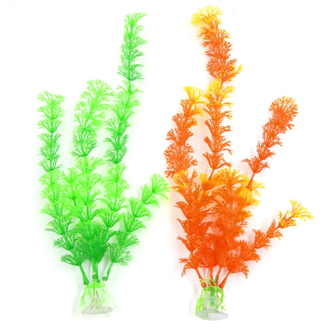 2 PCS Green Orange Aqua Landscape Plastic Plant with Suction Cup