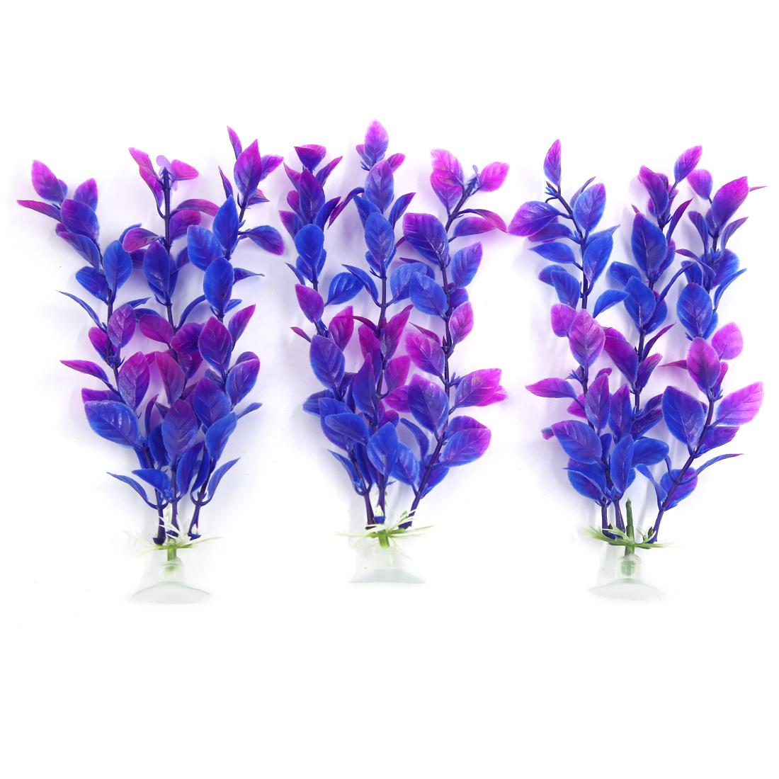 17cm High 3 PCS Purple Aquarium Decor Aqua Landscape Plastic Plant Suction Cup
