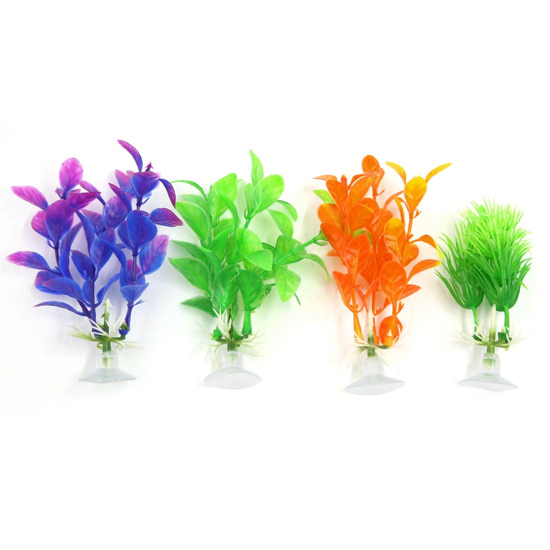 4 PCS Multicolor Aqua Landscape Aquarium Decoration Plastic Plant with Suction Cup