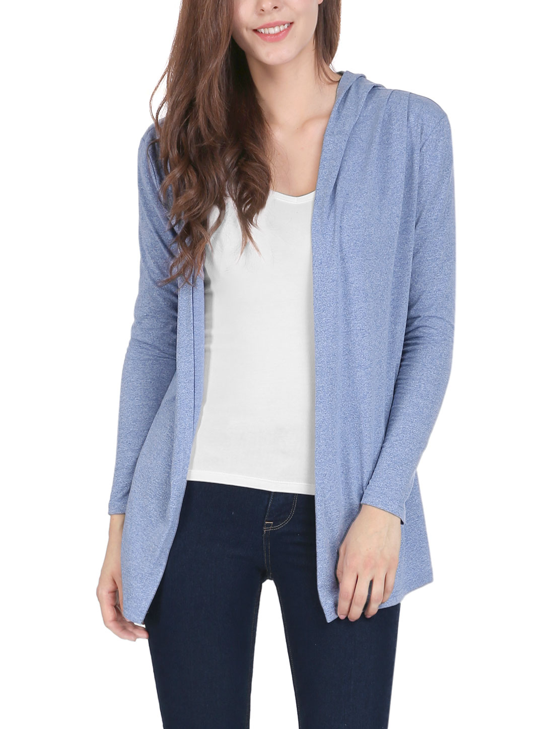 Women Long Sleeves Open Front Pleated Detail Hooded Cardigan Blue M