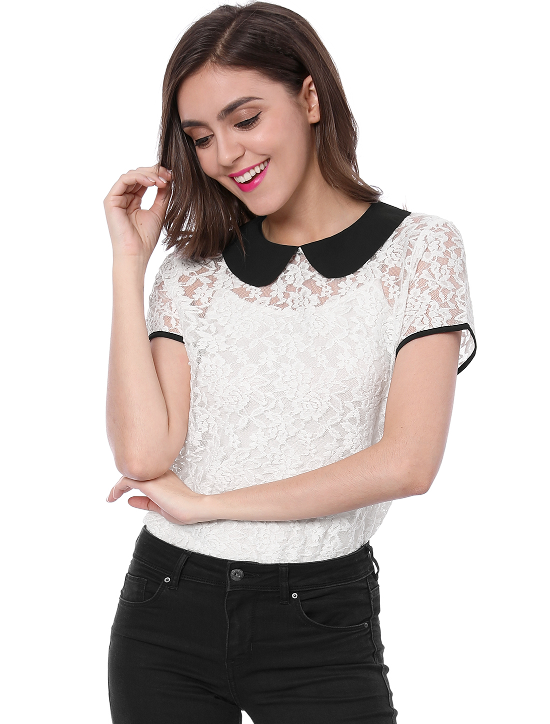 Women See Through Contrast Peter Pan Collar Lace Top White XS