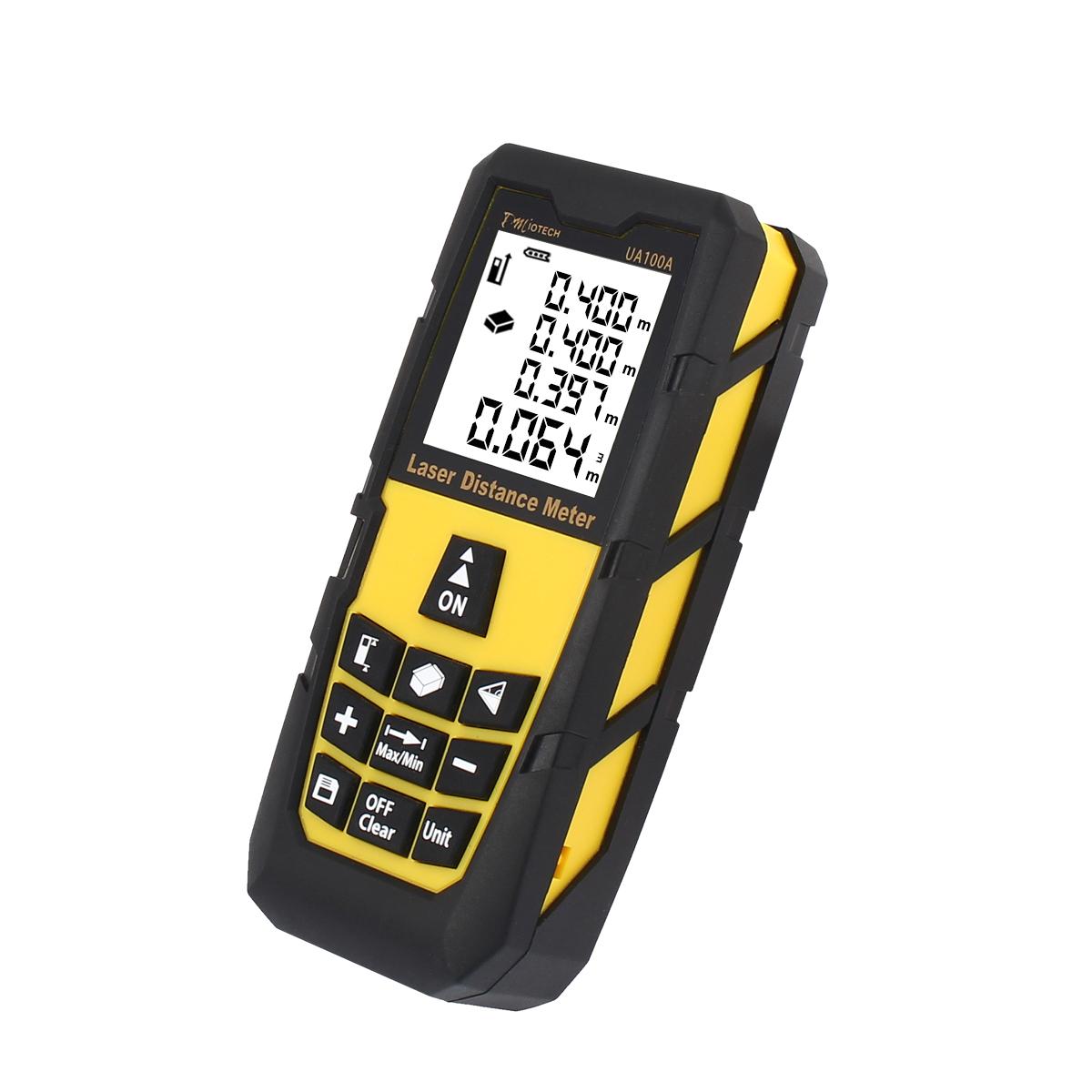 100M 328ft Mini Digital Laser Distance Meter Rangefinder Measure Tape Diastimeter Yellow