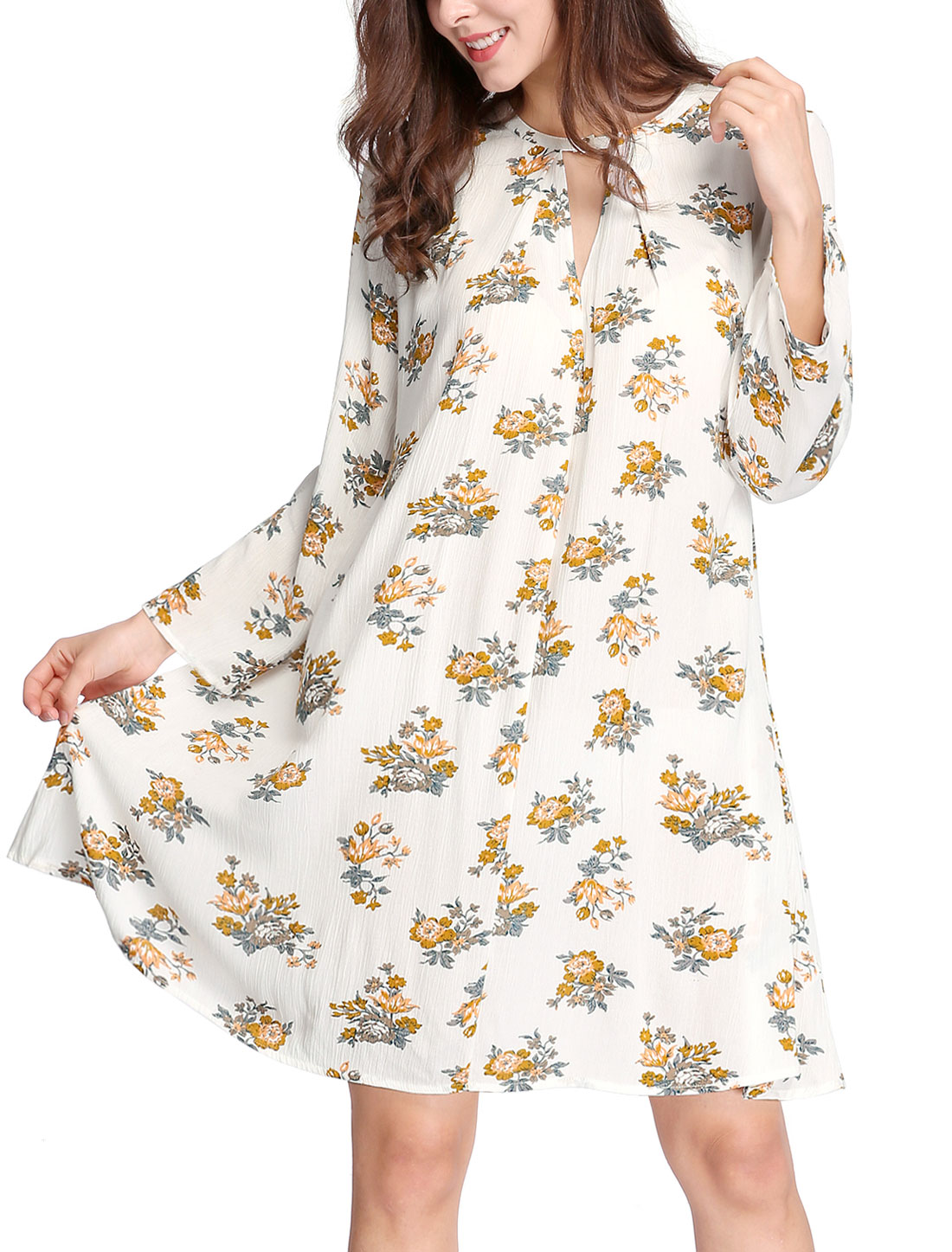 Women Keyhole Front Floral Prints Oversized Swing Dress White XS