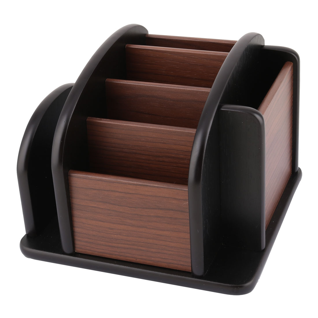 Office Desk Wooden Rotating Base 4 Layers Stationery Pen Holder Container