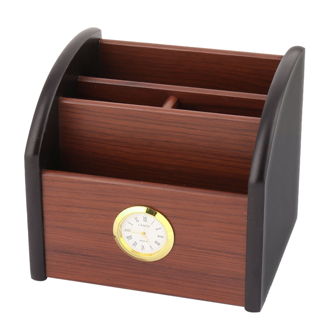 Office Desk Wooden Clock Decor Rotating Base Ruler Pencil Pen Holder Container