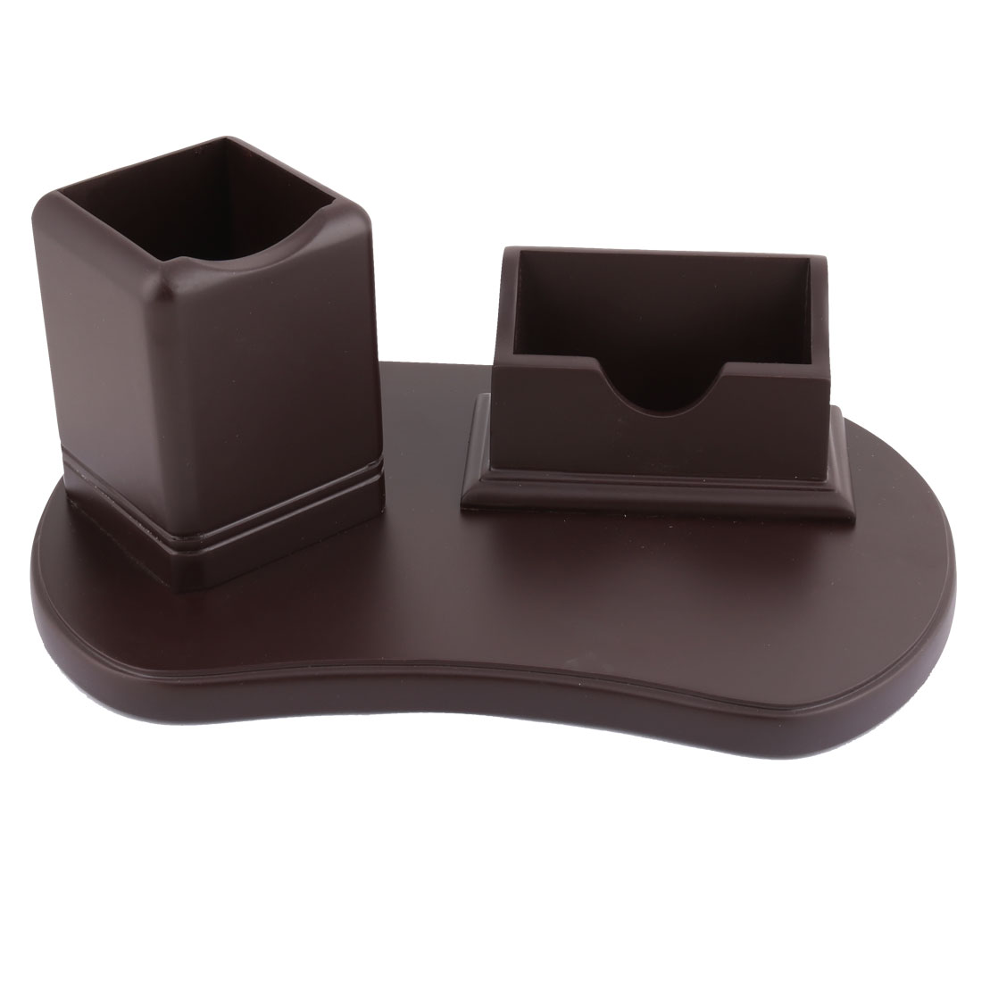 Desk Orangizer Wooden Storage Stationery Business Card Ruler Pen Holder Chocolate Color