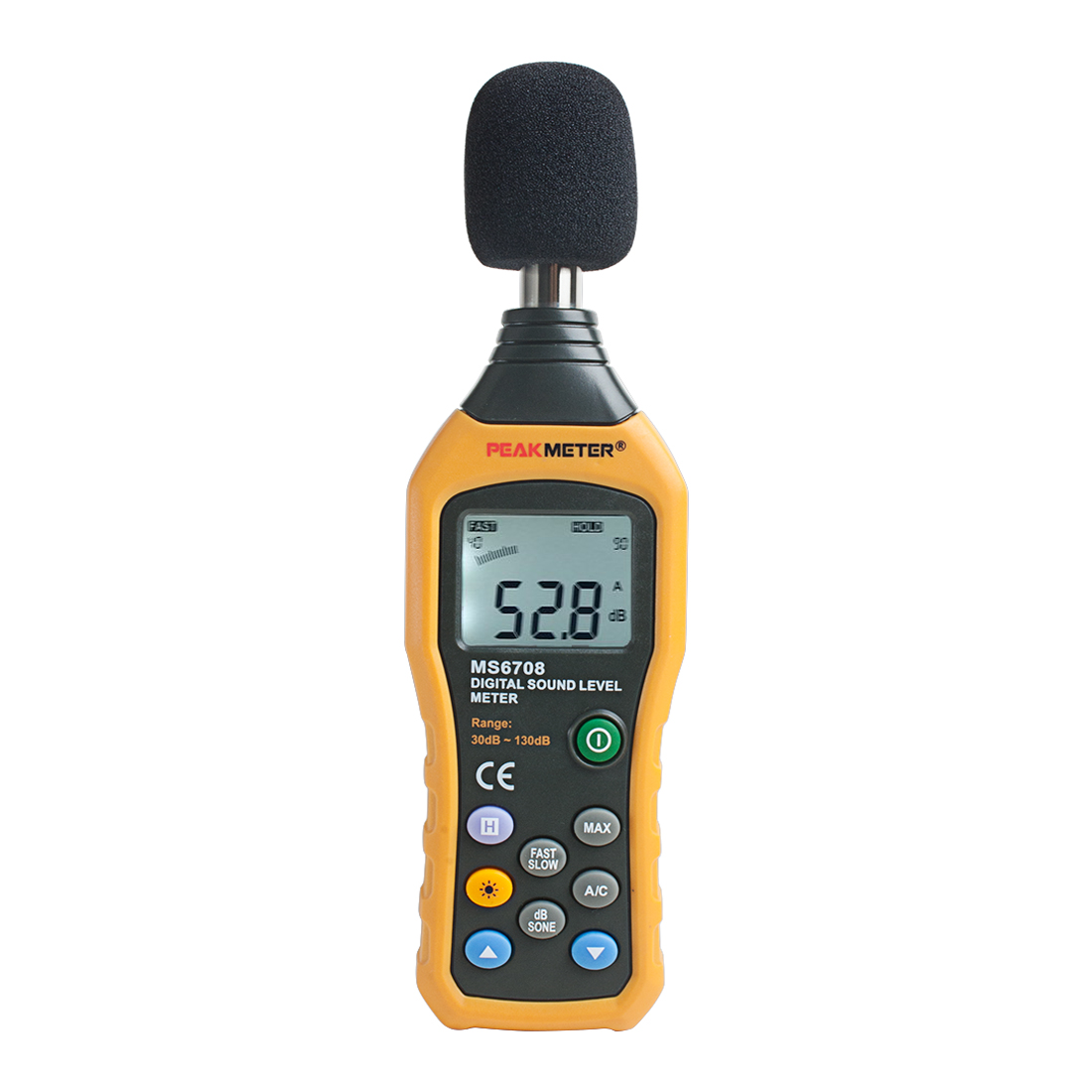 PEAKMETER Authorized MS6708 LCD Digital Sound Noise Level Meter Decibel Tester 30-130db Analog Bar Display