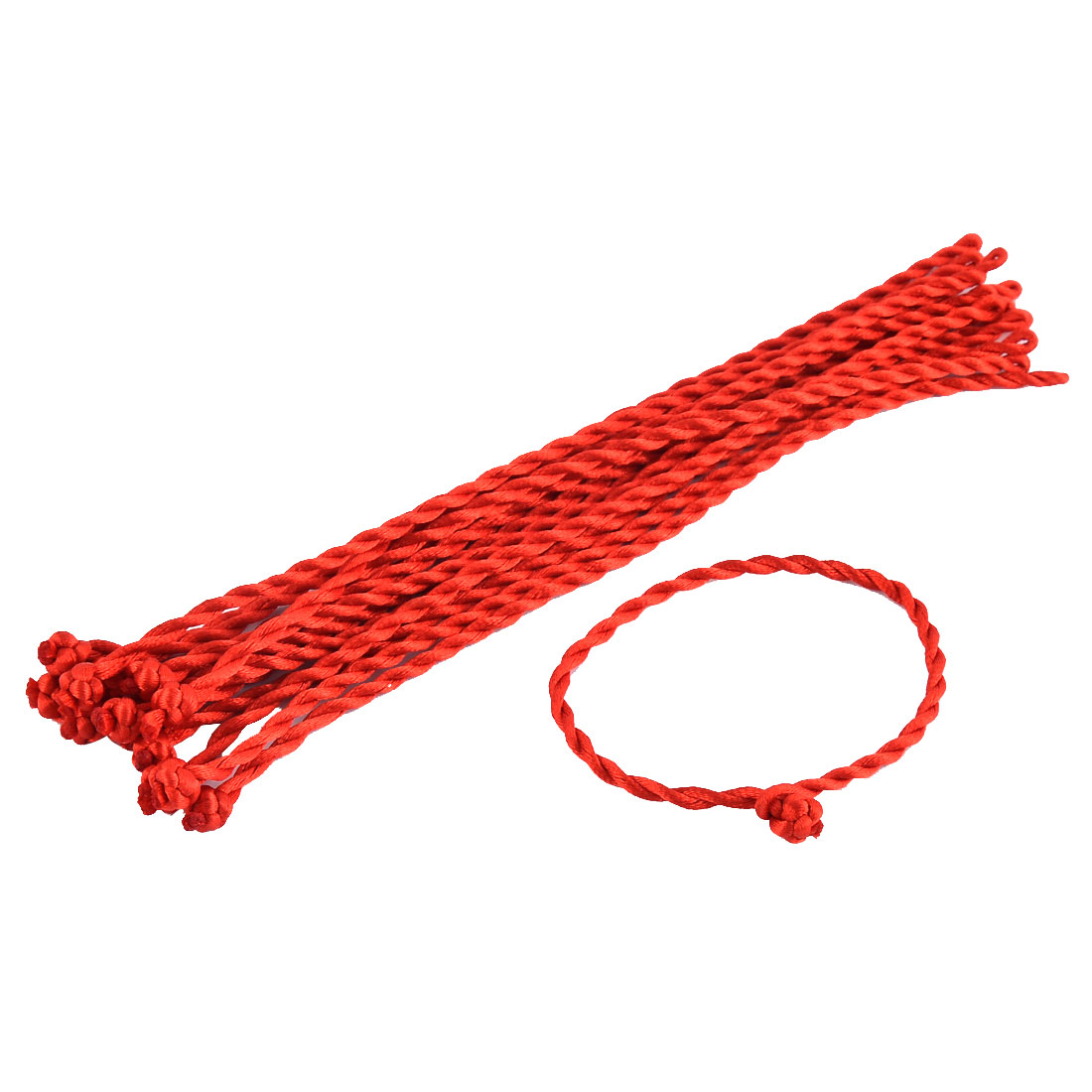Lady Nylon Handmade Braided String Wrist Neck Bracelet Bangle Rope Red 15pcs