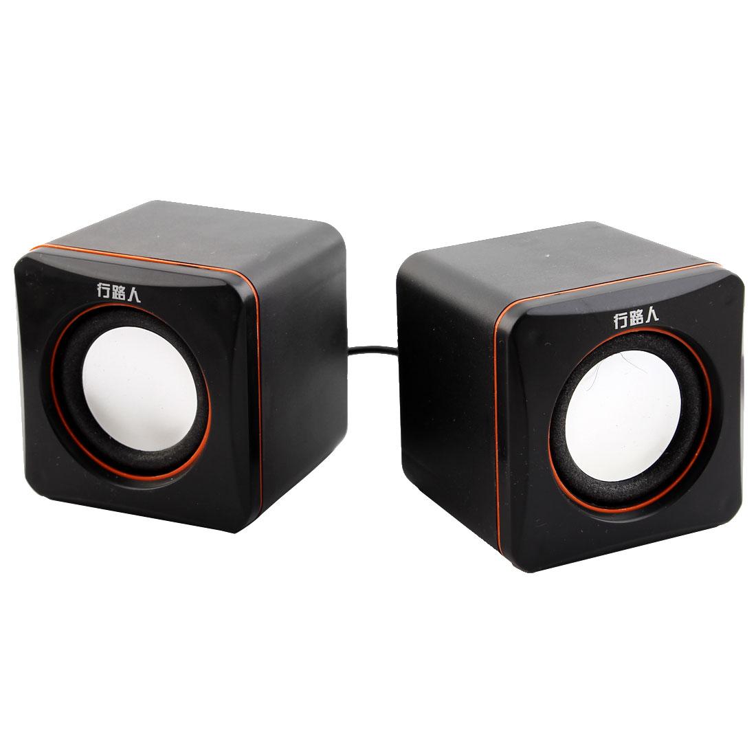 Pair Black Orange Plastic Shell USB Powered Stereo Computer Laptop MP3 MP4 Mini Multimedia Speaker Player Sound Box