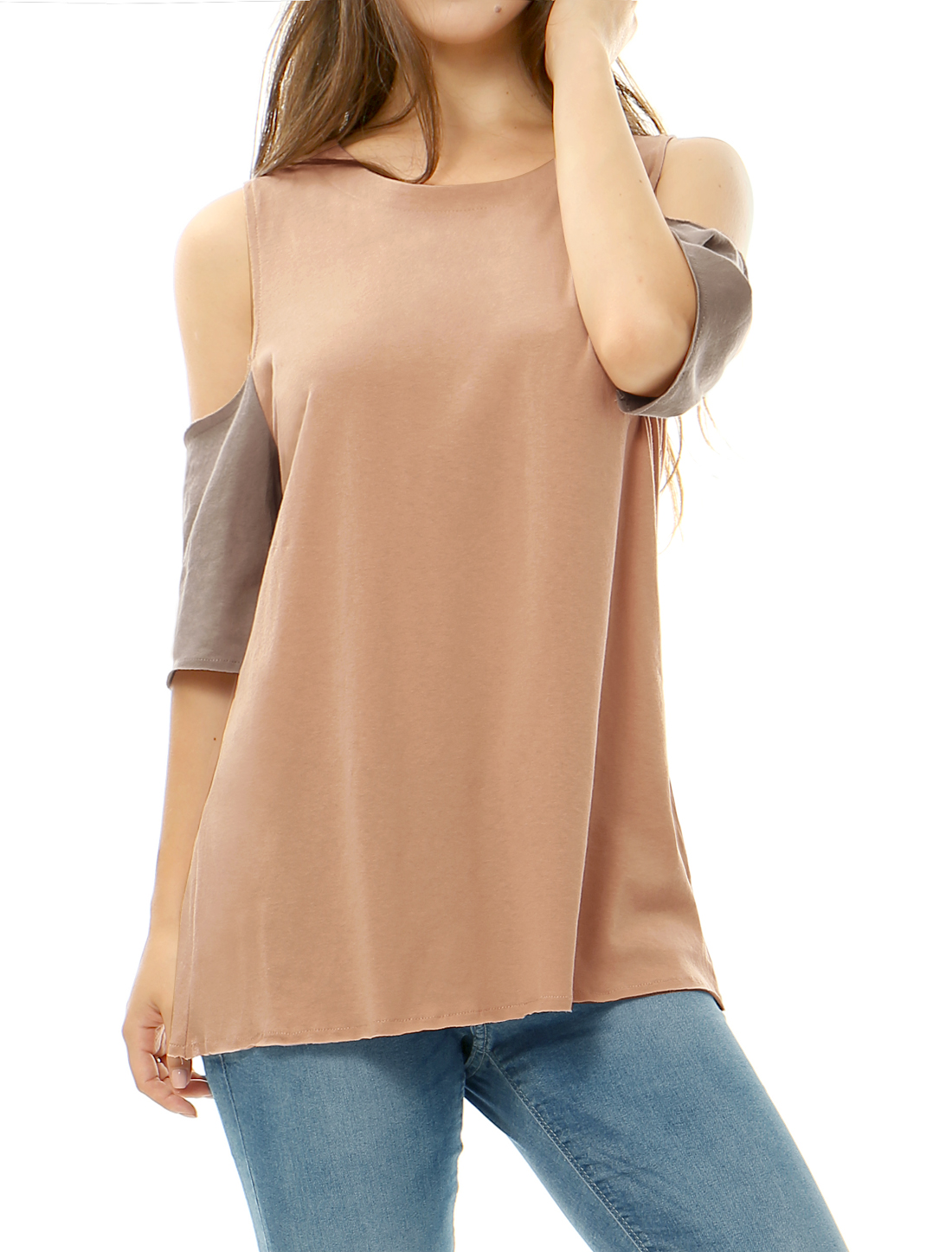 Women Cold Shoulder Contrast Color Raw Edge Tunic Top Pink XS