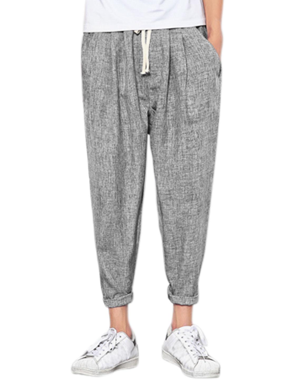 Men Drawstring Elastic Waist Pockets Tappered Cropped Pants Gray W30