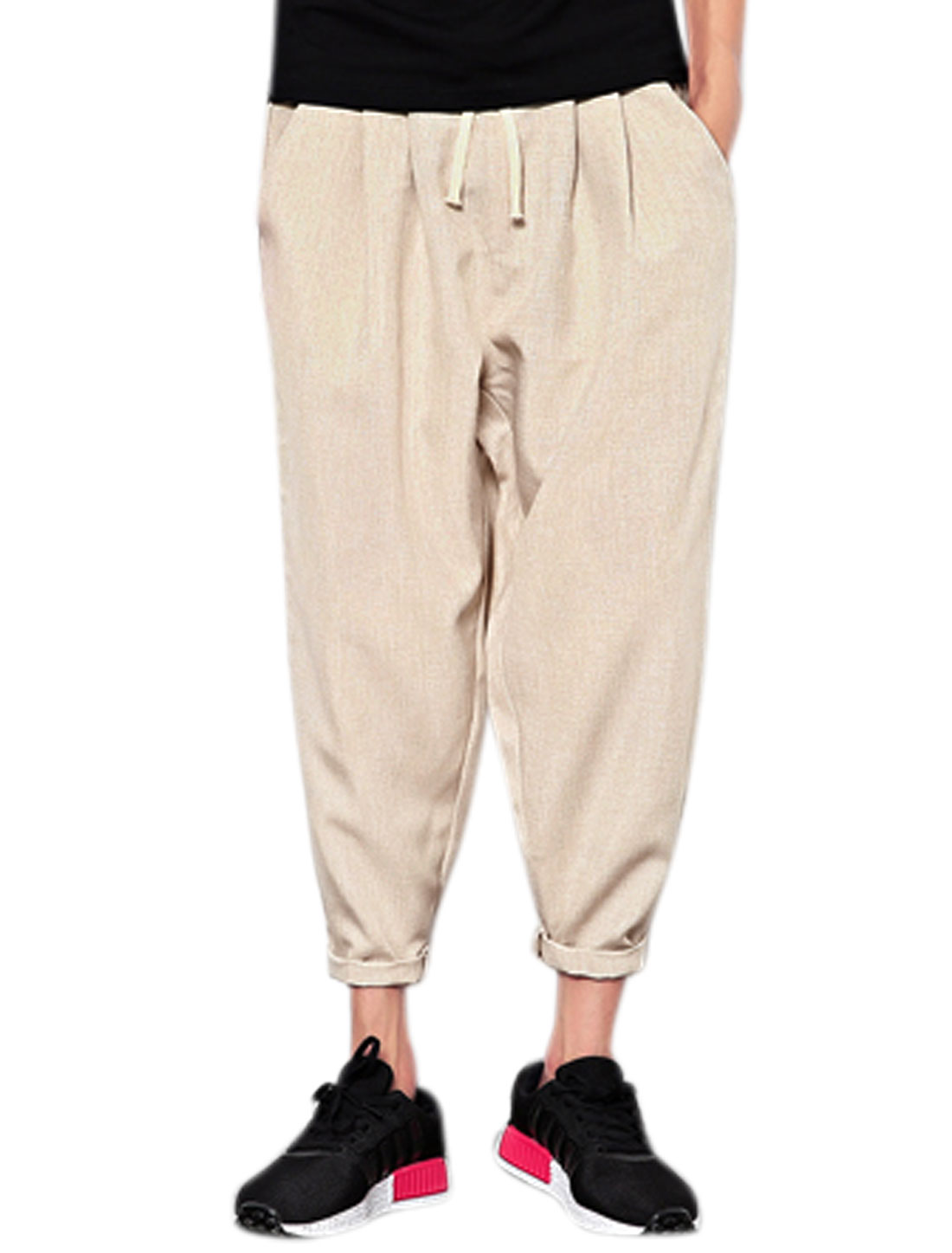 Men Drawstring Elastic Waist Pockets Tappered Cropped Pants Beige W32