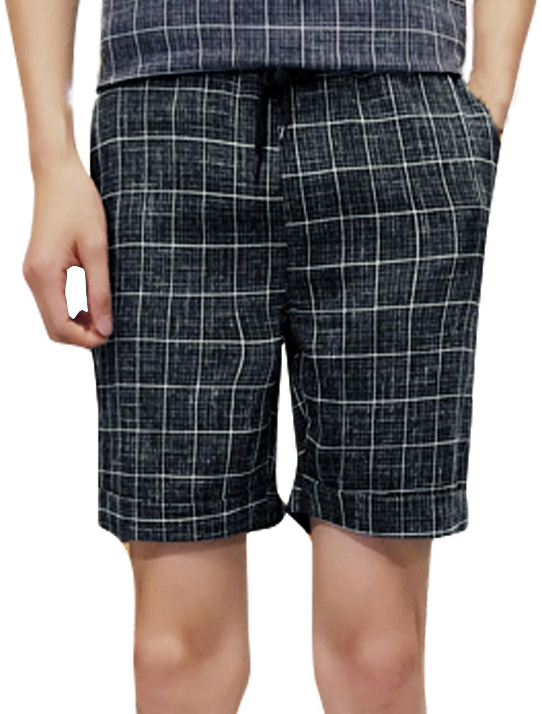 Men Plaids Drawstring Elastic Waist Pockets Shorts Blue W30
