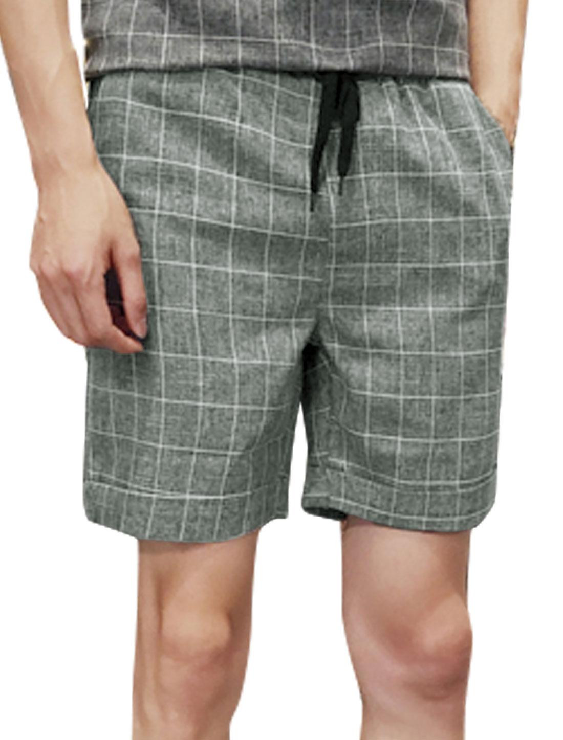Men Plaids Drawstring Elastic Waist Pockets Shorts Gray W32