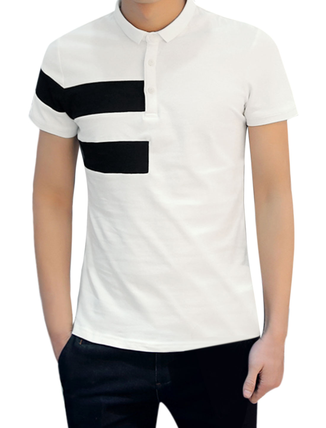 Men Short Sleeves Contrast Color Slim Fit Polo Shirt White M