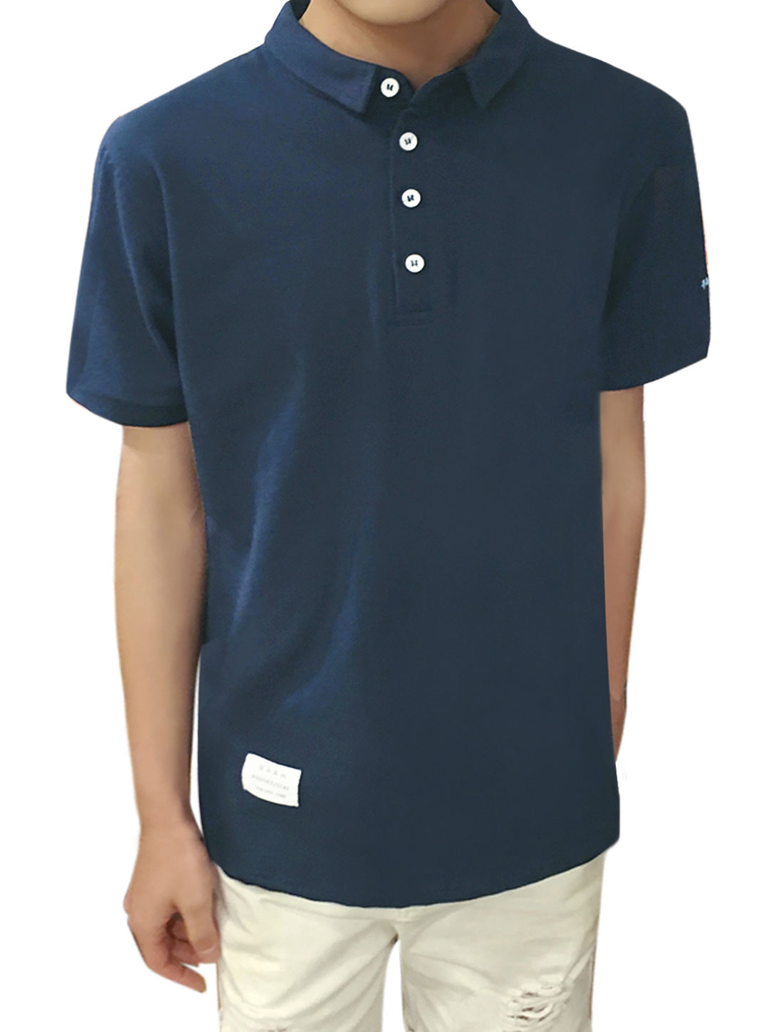 Men Short Sleeves Number Letters Embroidered Polo Shirt Blue M