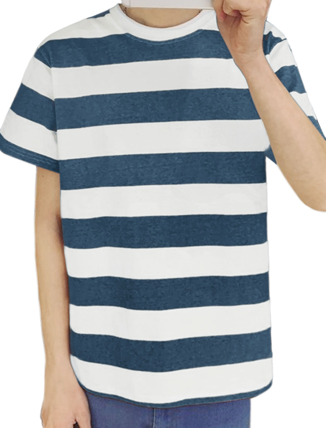 Men Stripes Crew Neck Ribbed Detail Short Sleeves Tee Shirt Blue S