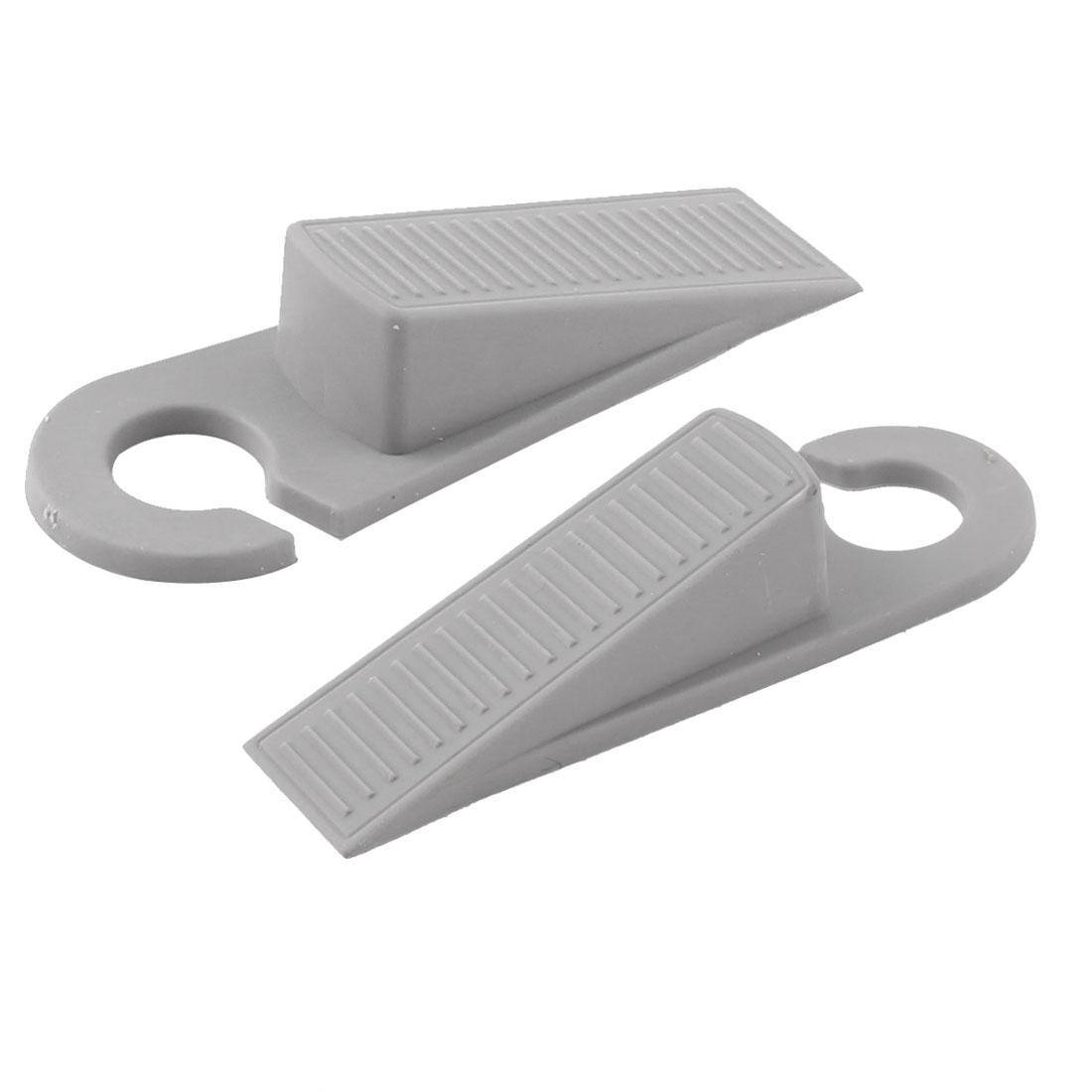 Home Office Floor Rubber Anti-slip Door Stopper Guard Protector Gray Pair