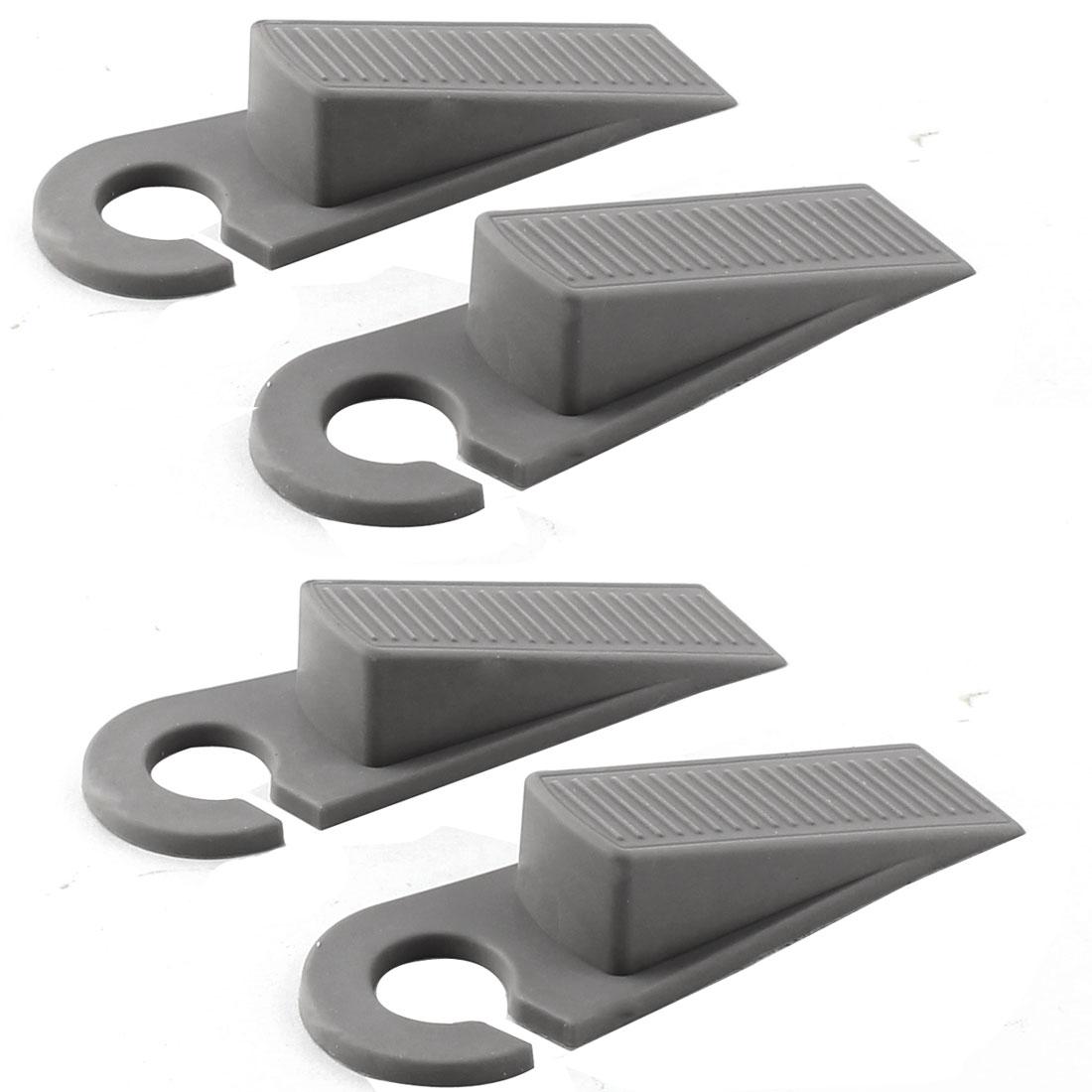Home Office Floor Rubber Anti-slip Door Stopper Guard Protector Gray 2 Pairs