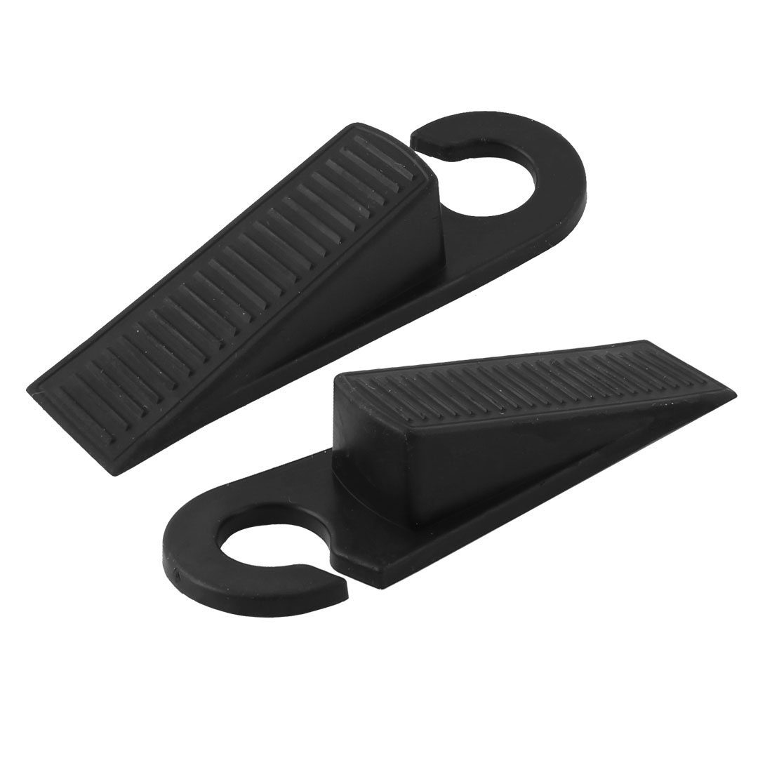 Home Office Floor Rubber Anti-slip Door Stopper Guard Protector Black Pair
