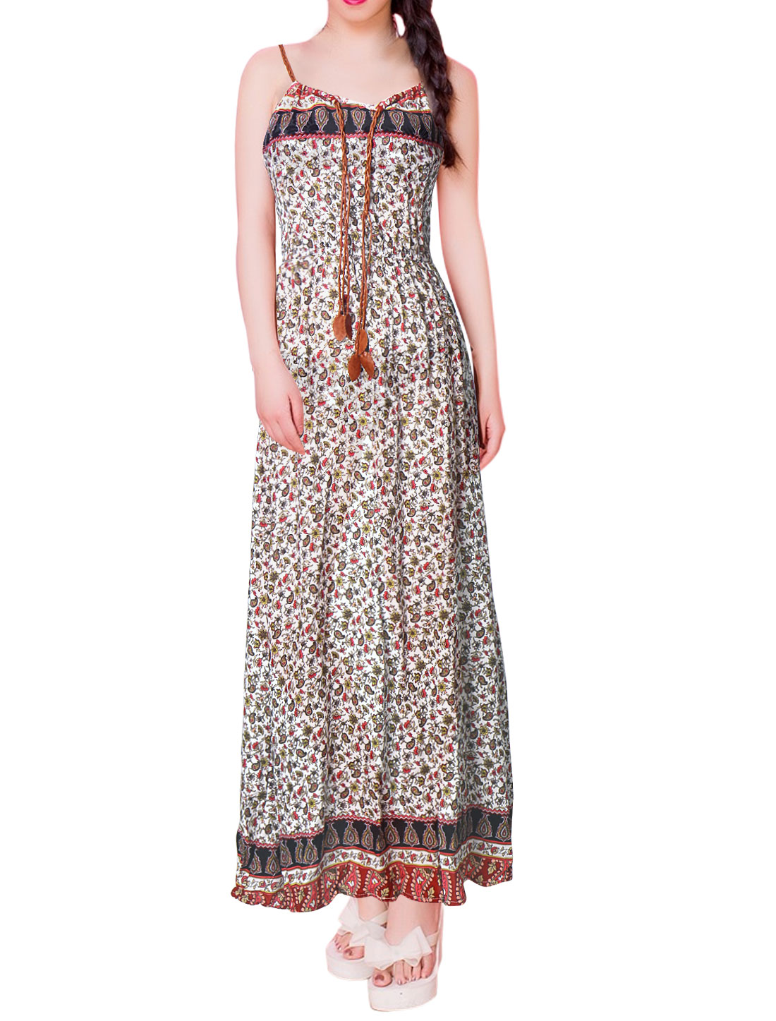 Women Drawstring Elastic Waist Flower Paisley Maxi Dress White XS