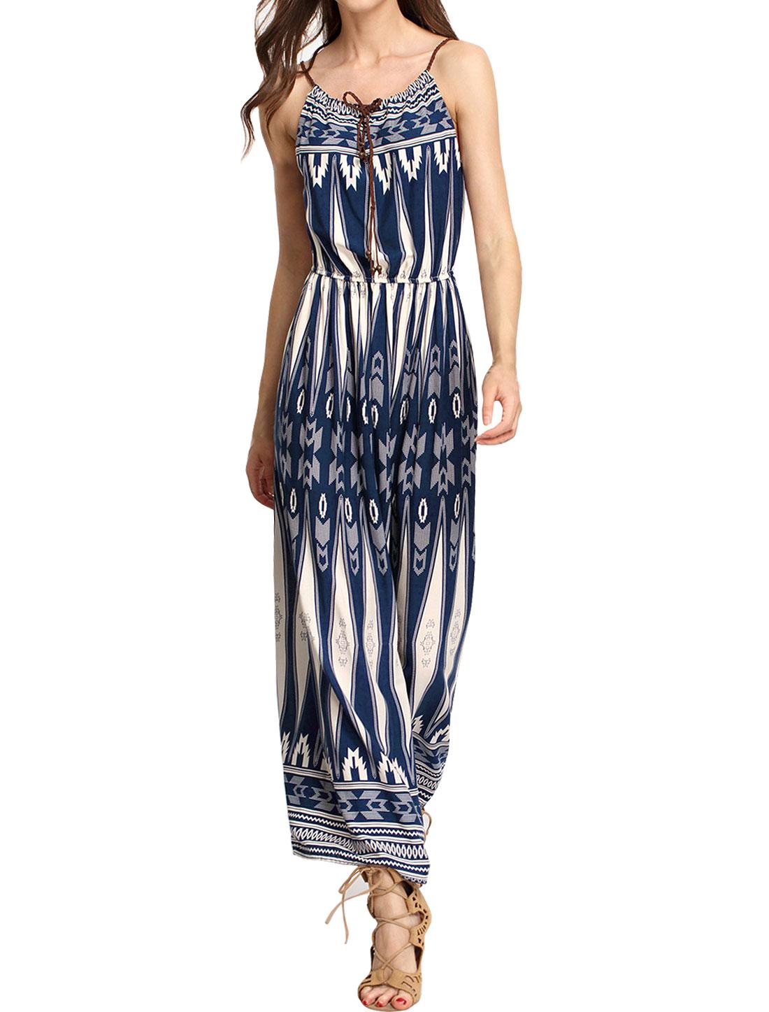 Women Novelty Prints Self Tie Neckline Sleeveless Maxi Dress Blue XS