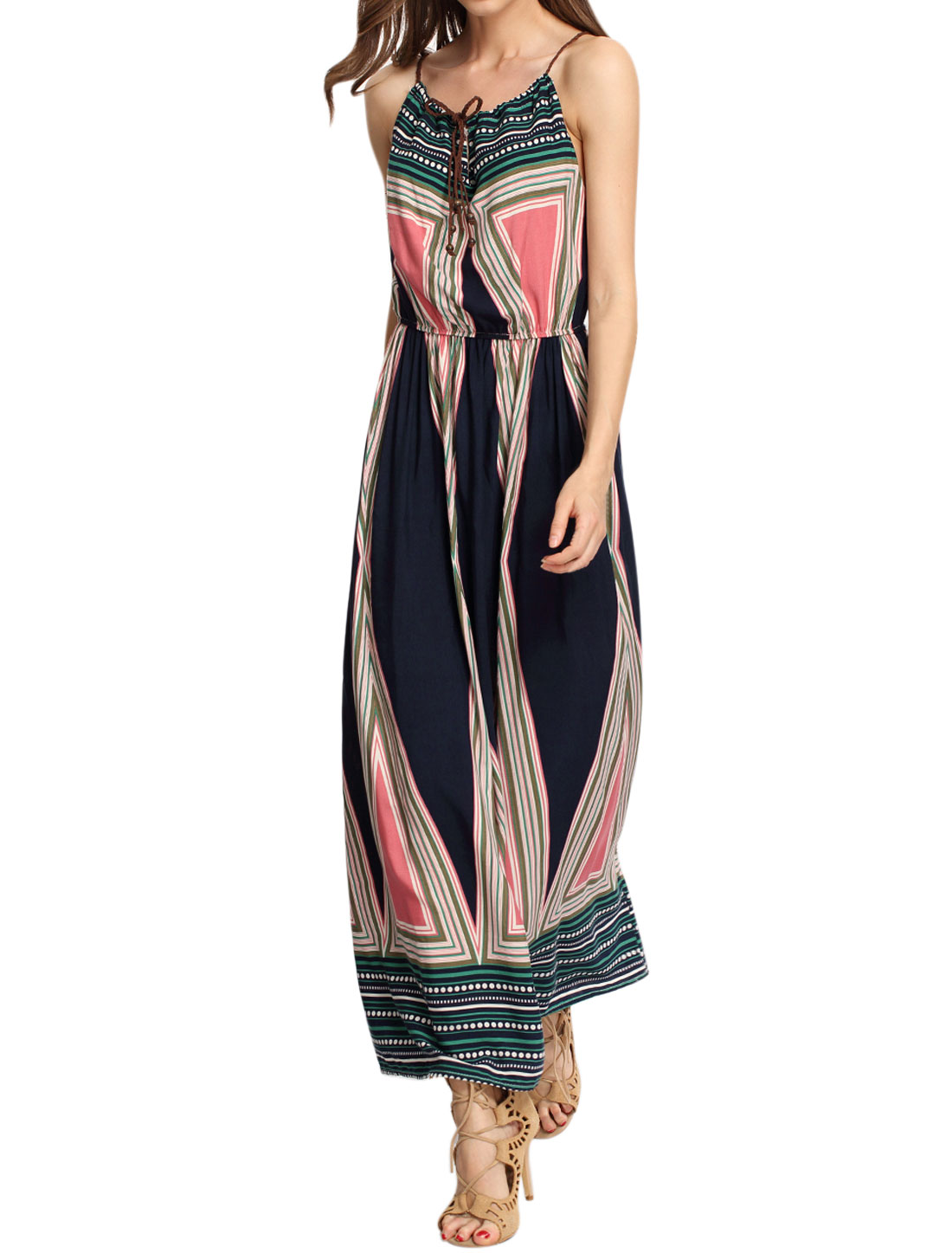 Women Braided Straps Geometric Prints Elastic Waist Boho Dress Multi-color XS