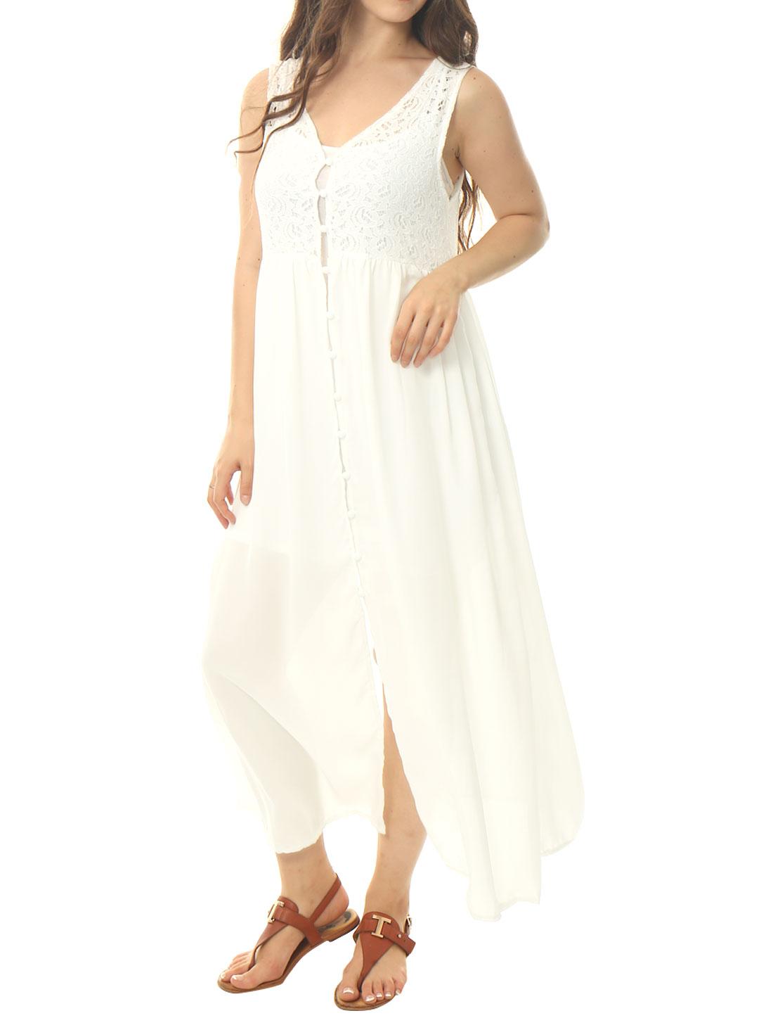 Women Lace Panel Semi Sheer Long Length Sleeveless Cardigan White S