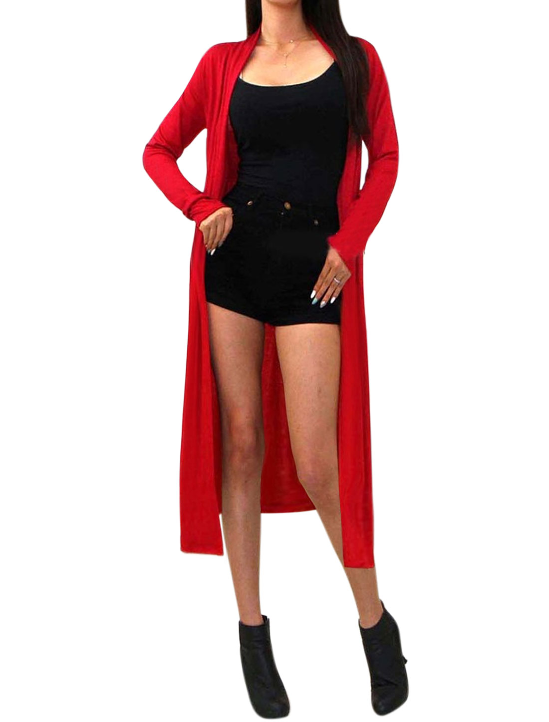 Women Shawl Neck Open Front Mid-Calf Sun Protection Cardigan Red XS